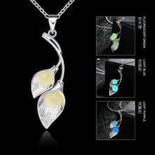 JEXXI Fashion Girls Noctilucent Double Leaf Shape Pendant Jewelry Blue Green Purple 925 Sterling Silver Glow Necklace for Women