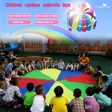 2m-8m Umbrella Rainbow Toy Parachute Kids Games Multicolor Nylon Parachute Toy For 4-20 People Outdoor Sports Fun
