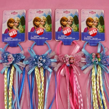 New 1PCS Hair Accessories Princess Elsa Anna  Elastic Hair Bands Flower hair rope Pink/blue Headwear Party Gifts For Girls