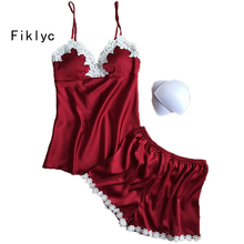 Fiklyc brand pajamas sets for women fashion lace satin pijama summer nightwear sexy lingerie pajamas pyjamas women homewear NEW