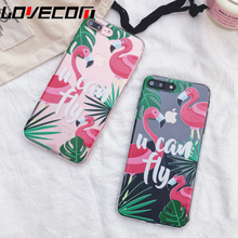 Lovely Cartoon Bird Flamingo Phone Case For iPhone 6 6S 7 7 Plus Clear Soft TPU Back Cover Capa Coque Newest Top Quality