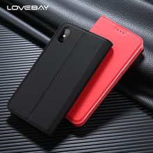 Lovebay Flip Stand Phone Case For iPhone X 8 7 6 6S Plus 5 5s SE PU Leather Automatic Magnetism Case Card Slot Cover For iPhone7(China)