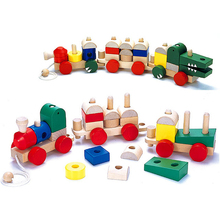 High Quality Shape Of Two Forms Section Blocks Cars Small Train Environmental Protection Wooden Toy Train Toys For children Gift