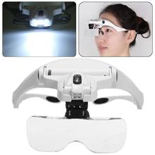 5 Lens Adjustable Loupe Headband Magnifying Glass Magnifier With LED Light lamp Magnifying Glasses For Eyelash Extension Beauty(China)