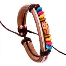 Surfer Candy Color Natural Wood Beads Female Charm Bracelet Handmade Hemp Rope Wrap Real Leather Strap Bracelet Bohemian Jewelry