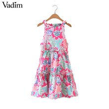 Vadim women sweet floral shift dress elastic pleated backless hollow out dresses European style ladies casual vestidos QZ2987