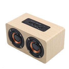 New Wooden Bluetooth Speaker Dual Loudspeakers Surround Mini Portable Speaker Wood Wireless Computer Speaker for xiaomi phone