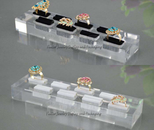 High Quality Acrylic 8 Slots Ring Display Tray Ring Holder Ring Showing Stand Jewelry Showcase