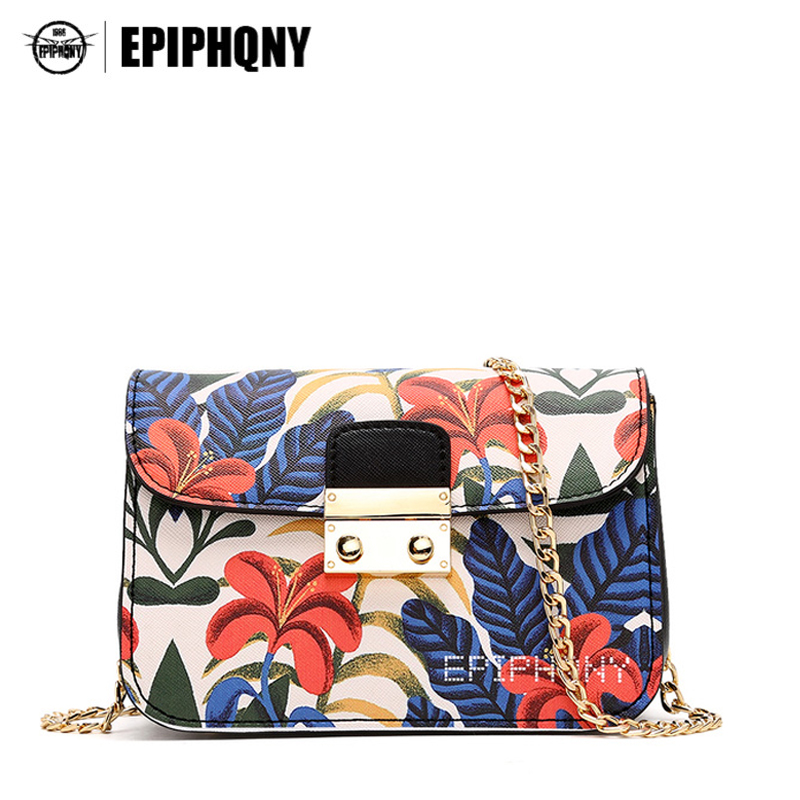 Epiphqny Brand Women Flower Printing Shoulder Bag PU Leather Small Chain Crossbody Bag Floral Fashion Design Luxury Handbags<br>