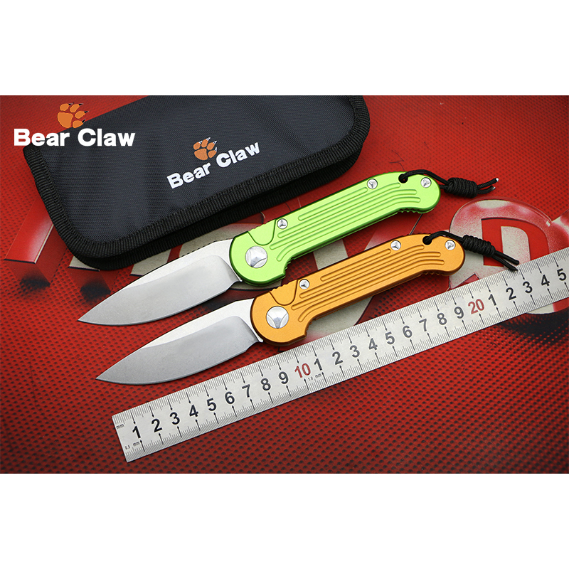 BEAR CLAW L.U.D.T D2 blade Aluminum handle Flipper folding knife Outdoor camping hunting pocket fruit knives EDC tools Survival<br>