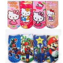 Hello Kitty Cotton Socks Kids Girls 2017 New Soft Cotton Princess Novelty 3D printing funny socks art kids anti slip for girls