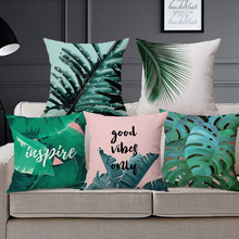 Drop Ship Banana Leaves Cushions Cover Palm Trees Home Decor Linen Cotton Pillow Cover Decorative Throw Pillows Pillowcase(China)