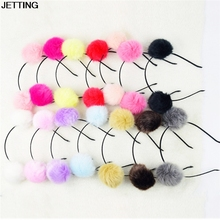 hot 1Pc Pom Fur Ball Furry Ears Fluffy Rabbit Fur Ball Women Headband Hair band Beautiful Hair Accessories(China)