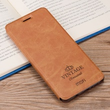 MOFI Case Cover for Meizu m5 Note Phone Cases Funda PU Leather Flip Shell with Card Slot for Meizu m5 Note Cell Phone Bag- Brown