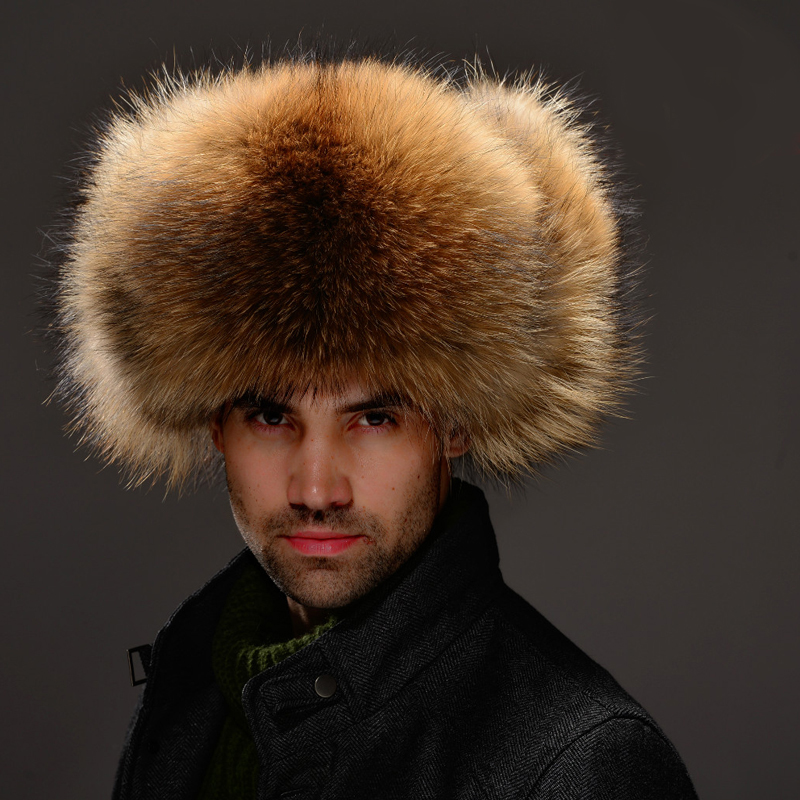 100% Real Raccoon Fur Cap With Real Leather, Natural Fox Fur Hat For Men SU-1529 Free Shipping