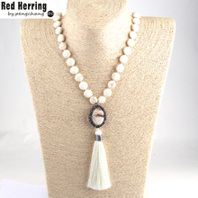 Fashion Bohemian Tribal Jewelry White Stone Knotted Handmake Paved Horse Hair Link White Tassel Necklaces For Women(China)
