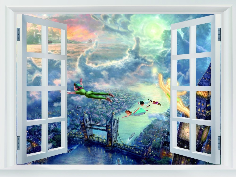 Elegant Christmas Gift Wallpaper Of Tinkerbell And Peter Pan Painting, Retro Poly  Glue Print Poster, Part 19