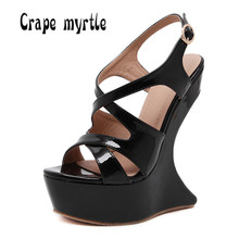 16cm Ultra high heels Women sandals Sexy Platform Wedge Strange Style High Heels Sandals Summer Club Party shoes for woman