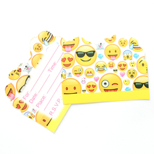 10pcs/lot Emoji Theme Party Paper Invitation Card Birthday Party Decorations Kids Baby Shower Supplies Party Favors(China)