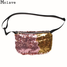 New Arrivals Women Waist Bag High Quality Double Color Sequins Money Phone Travel Handy Fanny Multi-function Waist Pack Dec8
