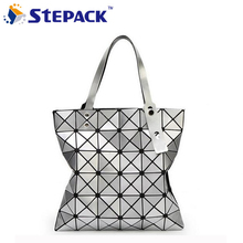New Contracted Fashion Creative Scale Straps Variety Folding Shoulder Handbag Meaningful Leather Geometry Lingge Laser Bag(China)