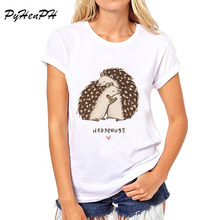 PyHen  Animal Puns Design t-shirt women animal / Hedgehog / mouse  Lover Short Sleeve top slim tee shirt femme women blusa