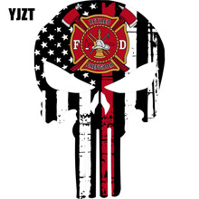 YJZT 9.9CMX15CM Thin Red Line Punisher Retired Firefighter Maltese Funny Reflective Car Stickers Personalized Decals C1-6052