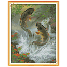 Big Size !!A Big Splash Counted 11CT 14CT Unfinished Cross Stitch animals fish Cross Stitch Kits for Embroidery Needlework(China)