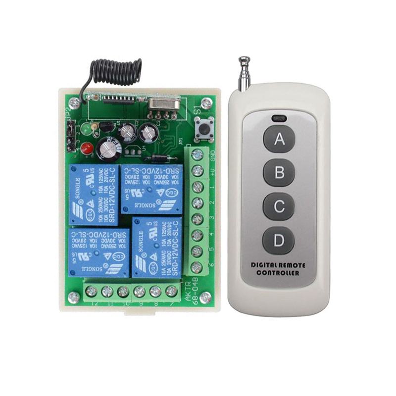 DC12V 10A 4CH Radio Controller RF Wireless Relay Remote Control Switch System 315 MHZ 433.92 MHZ Transmitter Receiver<br><br>Aliexpress