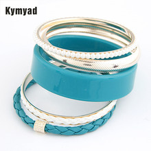 Kymyad Multilayer Bracelets Bangles Sets Gold Color Bangles Simulated Pearl One Directions Bracelets For Women Bijoux Pulseiras(China)