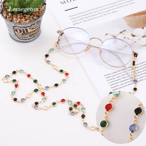 LIKGREAT Black Crystal Beaded Flowers Shaped Eyeglass Chain Strap Sunglass Retainer Cord Spectacle Lanyard for Women