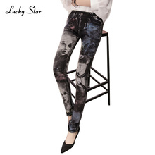 Black jeans woman Fashion Pencil jean pants Girl drilling printing rhinestones Long jeans Skinny womens Female D335(China)