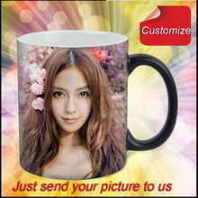 Drop shipping DIY Photo Magic Color Changing Coffee Mug custom your photo on Tea cup Black color best gift for friends(China)