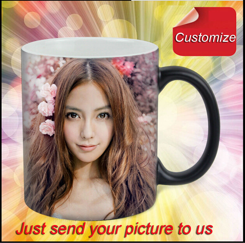Drop shipping DIY Photo Magic Color Changing Coffee Mug custom your photo on Tea cup Black color best gift for friends(China (Mainland))