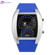 Fashion Aviation Turbo Dial Men Flash LED Watch Gift Mens Silicone Band Car Meter Design Quartz Military Sport Watches relogio(China)