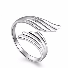 silver rings angel wings high end mirror surface woman open design classic jewelry