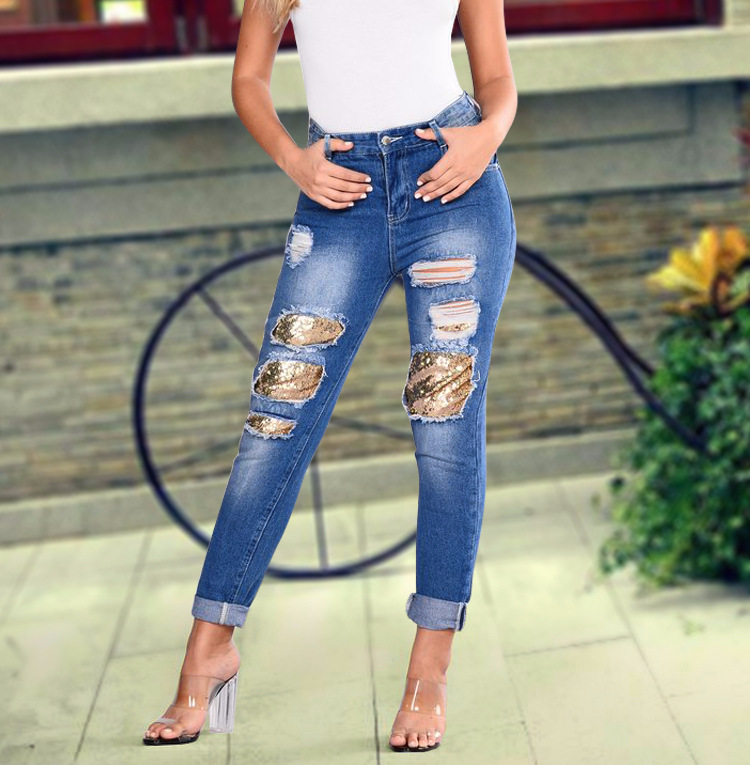 2018 Casual European Station Europe and the United States Style BF Wind Women Sequin Straight Hole Large jeans New Loose pants (2)