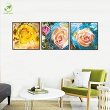 Modern 3pcs Pink Rose Canvas Painting Framed Prints Picture Melamine Board Wall Art Decor Posters Modular Rose Flowers Oil Paint