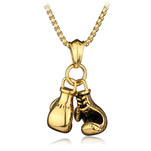Boxing Glove Mens Pendant Necklace Gold silver Plated Sport Boxing Power Jewelry Metal Charm gift for men Holders Chain Necklace(China)
