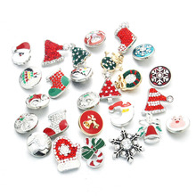 Wholesale Christmas 10pcs/lot Mixed 18mm snap button jewelry Metal Rhinestone button snaps fit snap button bracelet Jewelry 1044