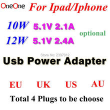 OneOne 5.1v 2.4A 2.1A 12W 10W USB Power Adapter AC home Wall Charger EU US AU UK plug For iPad pro air Mini iphone 500pcs
