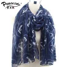 2015 New Fashion women winter and autumn scarves Anchor print voile scarf bufandas brand big size soft woman brand scarf shawl