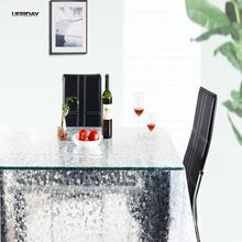 UFRIDAY Transparent Pebble EVA Tablecloth Coffee Tea Crystal Table Cloth Waterproof Oil Tablecloths Rectangular Thin Soft Glass(China)