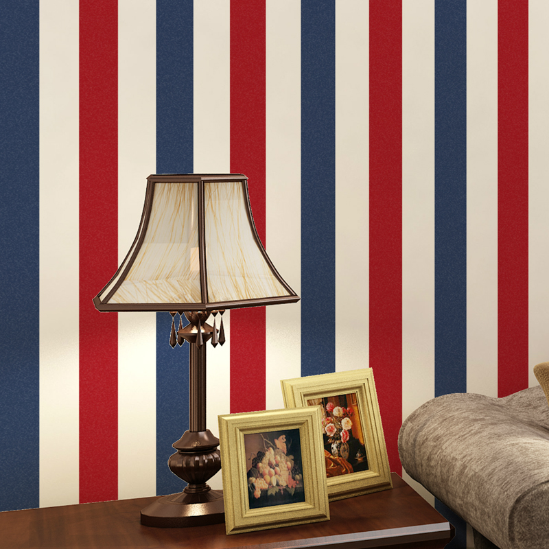 0.53x9.5m Red and blue striped pattern non - woven wallpaper children bedroom  living room decoration wallpaper<br>