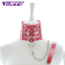 Buy 10pcs/lot Drag Chain PU Neck Collar Slave Harness Bondage Adult Fetish Product Sex Game Toys Couples Wholesale offer Quality