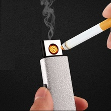 USB Electronic Rechargeable Lighter Matte Metal Flameless Windproof Cigarette Lighter Plasma Lighter No Gas Lighter Smoking Tool