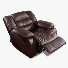 Antique European Creative cow real genuine leather chair single living room sofa chairs swivel chair functional chair recliner(China)