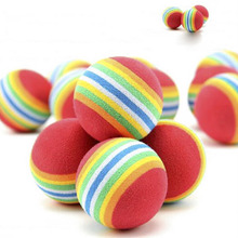 10pcs 3.5CM Small Tennis Ball For Pet Chew Toy Small Dog Cat Play Bite Rainbow Ball Inflatable Outdoor Supplies(China)