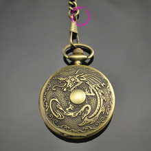 classic men gift shape quartz dragon pocket watch with short waist chain low price good quality retro vintage bronze man father