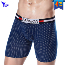 4pcs/lot CHENKE Brand Mens Cotton Long Leg Boxer Shorts Breathable Mesh Underwear Panties Sexy Man Homewear Underpants Male XXXL